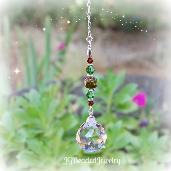 Green Brown Prism Crystal Suncatcher