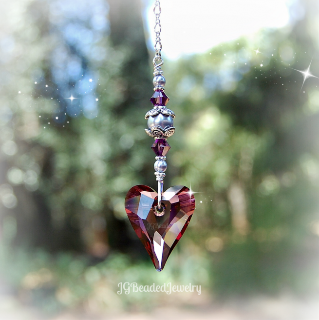Purple Heart Swarovski Pearl Crystal Suncatcher