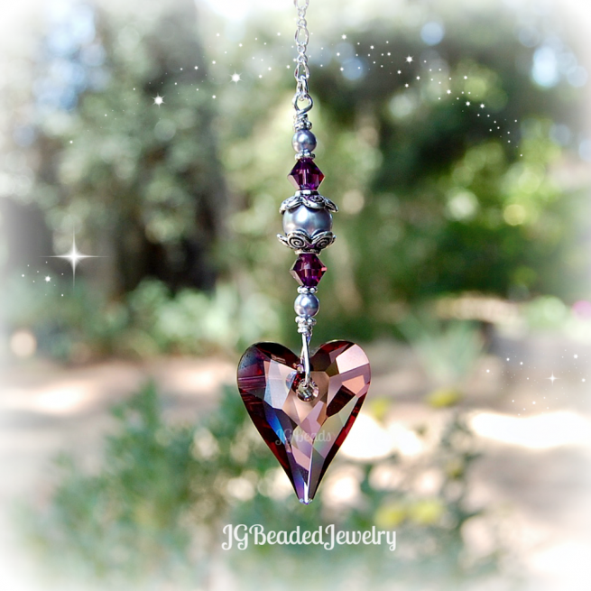 Purple Pearl Swarovski Crystal Hanging Heart Suncatcher
