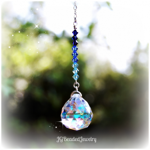 Blue Ombre Rearview Crystal Suncatcher
