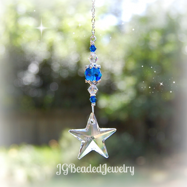 Blue Swarovski Crystal Star Suncatcher