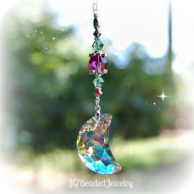 Swarovski Crystal Moon Suncatcher