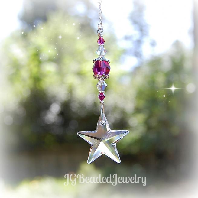 Pink Swarovski Crystal Star Suncatcher
