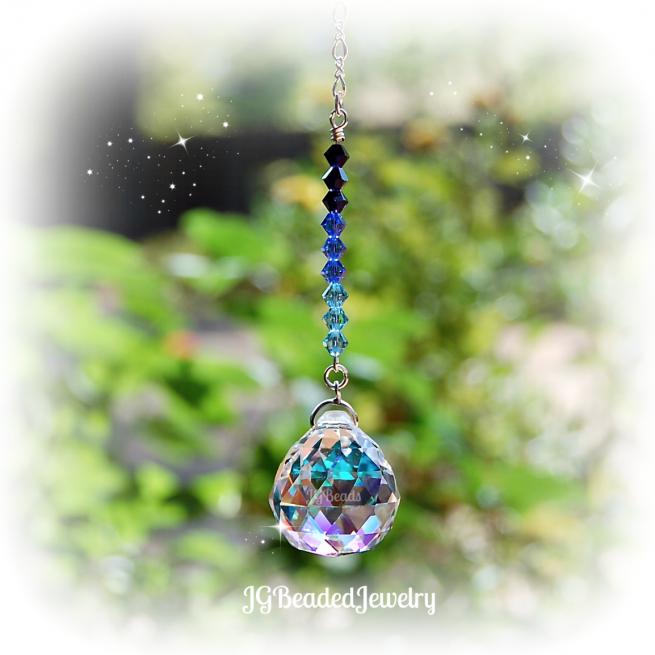 Swarovski Blue Ombre Rearview Crystal Suncatcher