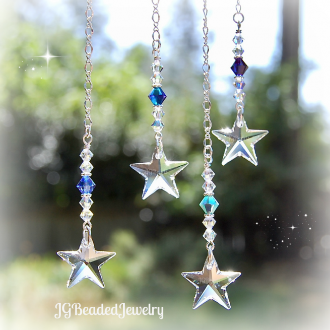 Blue Swarovski Crystal Star Ornament
