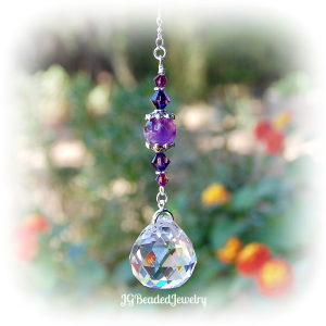 Purple Amethyst Crystal Suncatcher