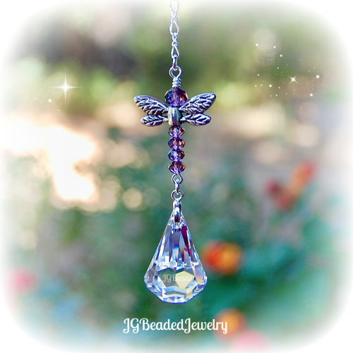 Purple Swarovski Dragonfly Suncatcher