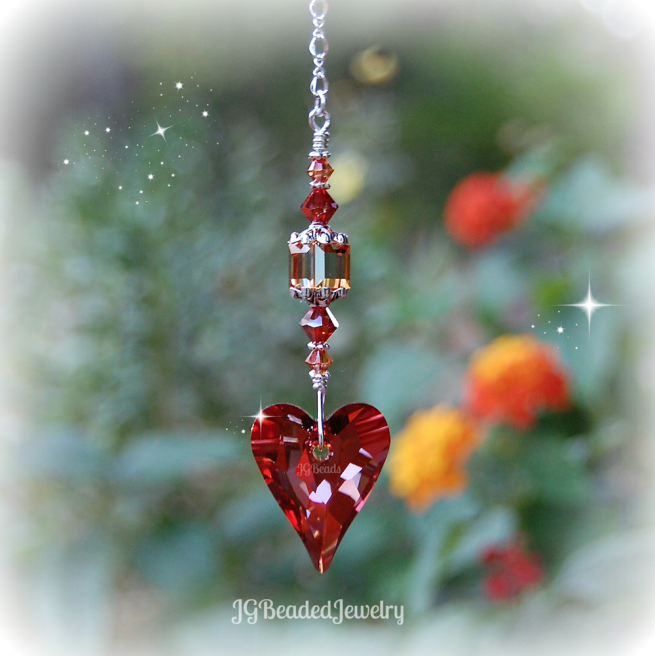 Red Heart Topaz Swarovski Crystal Suncatcher