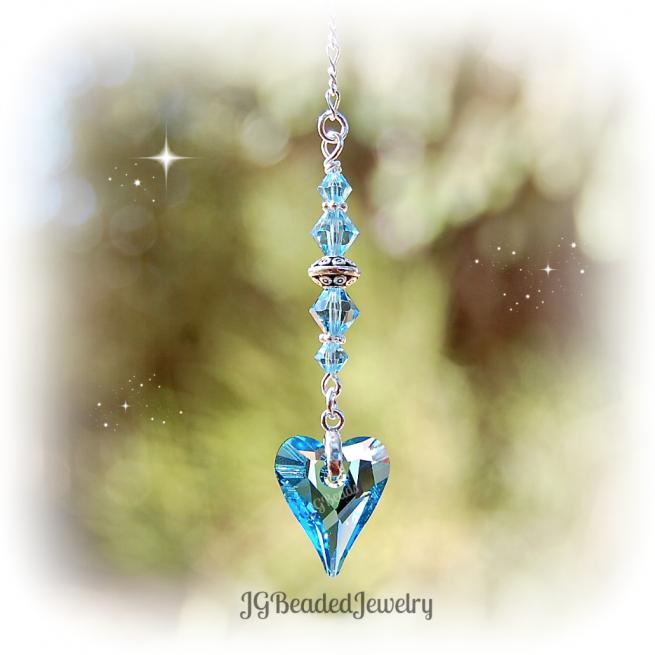 Aquamarine Blue Swarovski Heart Crystal Suncatcher