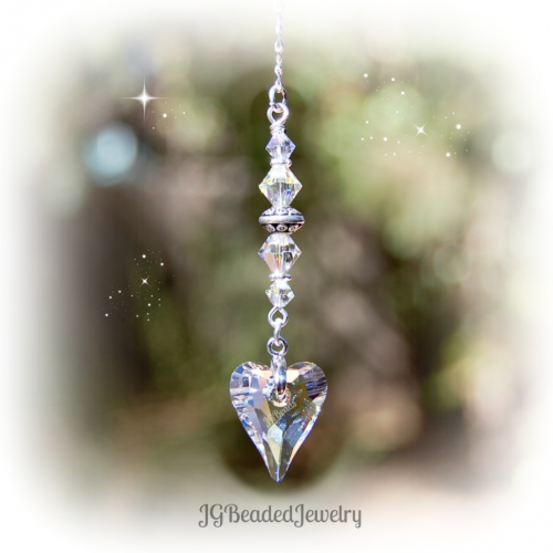 Clear Swarovski Crystal Heart Suncatcher