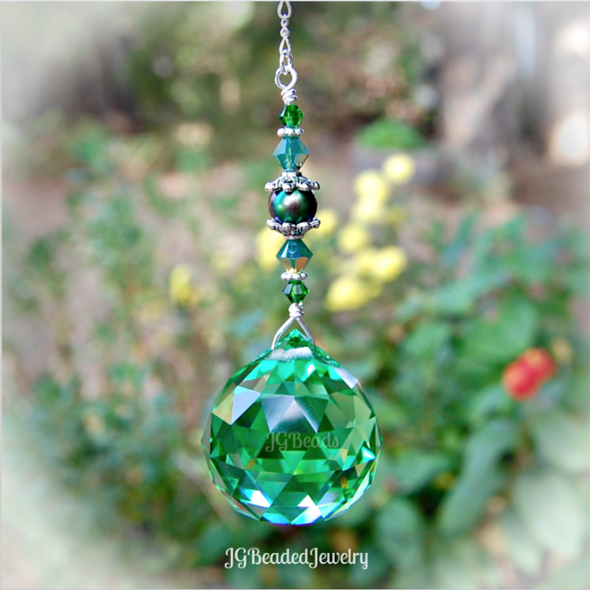 Green Pearl Prism Crystal Suncatcher