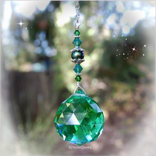 Green Pearl Prism Crystal Suncatcher