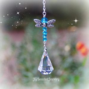 Light Blue Dragonfly Crystal Suncatcher