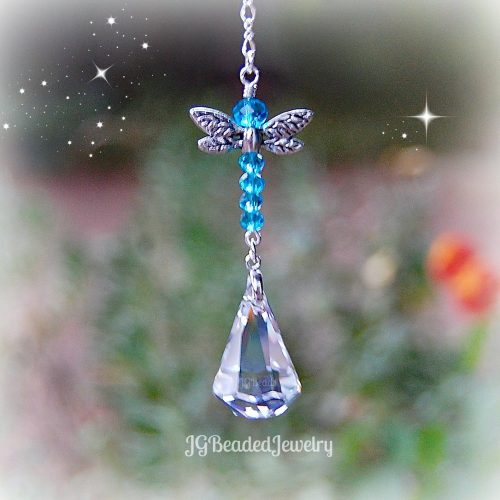 Light Blue Dragonfly Crystal Suncatcher