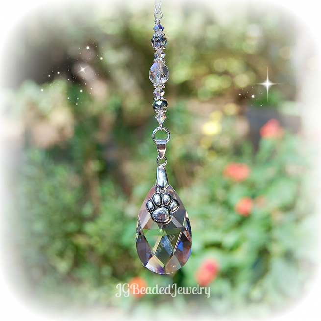 Pet Memorial Paw Crystal Suncatcher