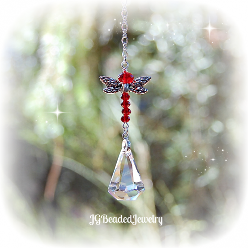 Red Dragonfly Swarovski Crystal Suncatcher