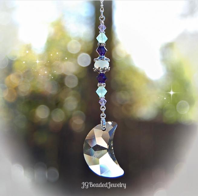 Purple Opal Swarovski Crystal Moon Suncatcher