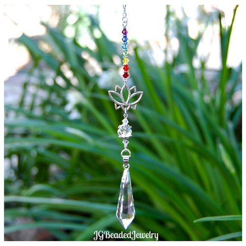 Lotus Chakra Crystal Teardrop Suncatcher
