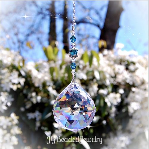 Large Teal Blue Crystal Suncatcher