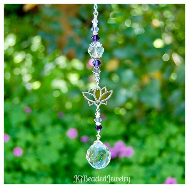 Purple Swarovski Lotus Crystal Suncatcher