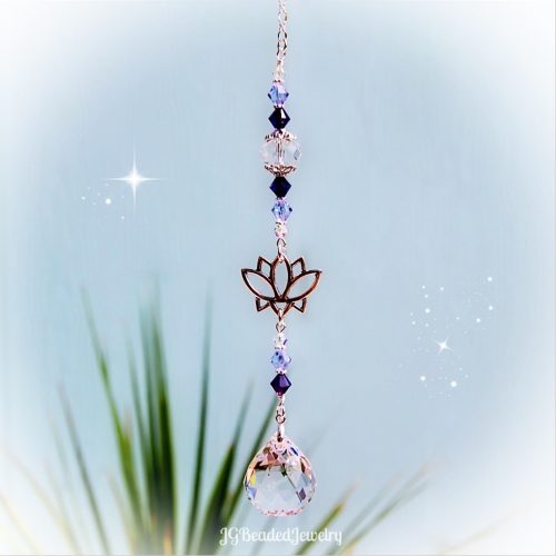 Purple Swarovski Lotus Flower Crystal Suncatcher