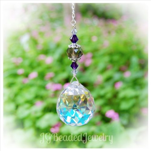 Purple Smokey Crystal Suncatcher