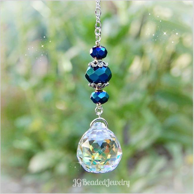 Blue Iris Crystal Suncatcher