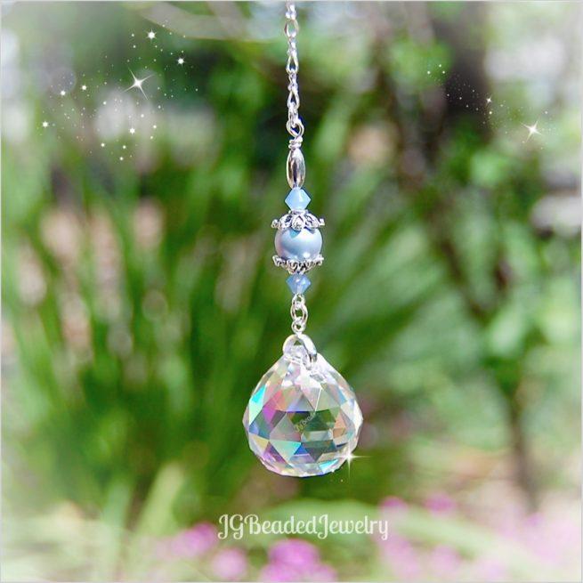 Blue Opal Pearl Crystal Prism Suncatcher