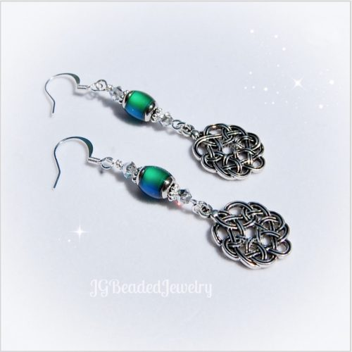 Celtic Knot Mood Bead Silver Swarovski Crystal Earrings