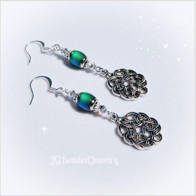 Celtic Knot Mood Bead Silver Swarovski Crystal Earrings 1