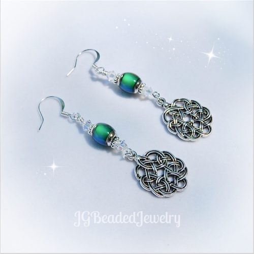 Celtic Knot Mood Bead Iridescent Swarovski Crystal Earrings