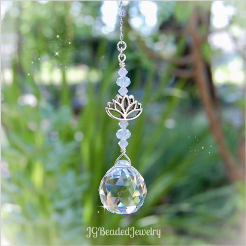 Lotus Flower Opal Crystal Suncatcher