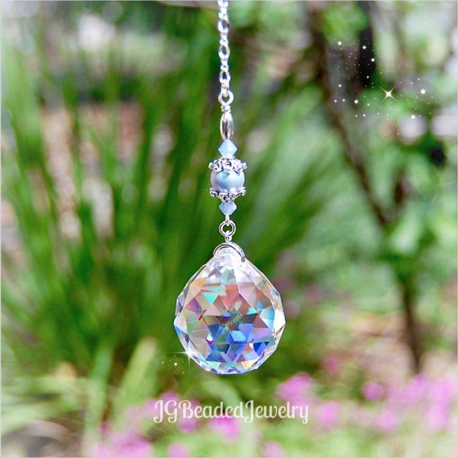 Blue Opal Pearl Prism Crystal Suncatcher