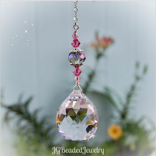 Pink Gray Crystal Suncatcher