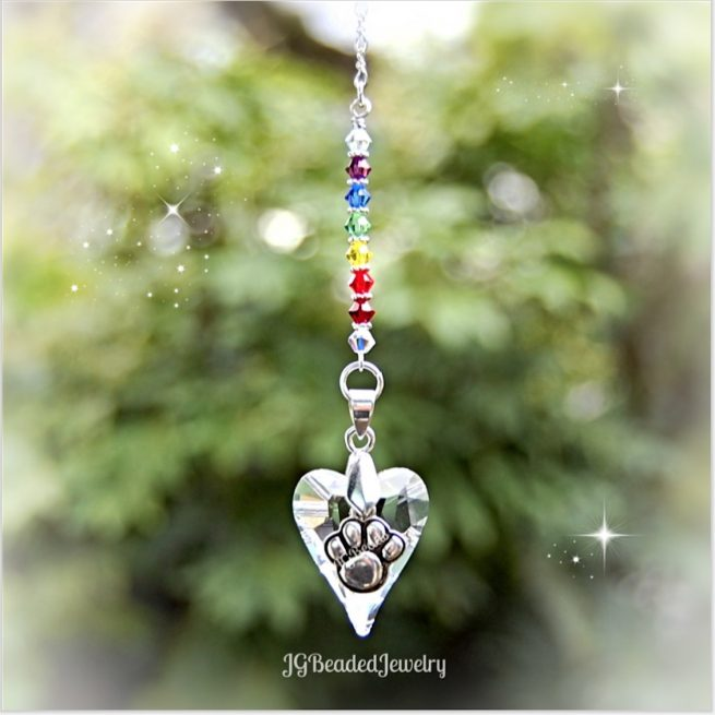 Rainbow Bridge Paw Hear Crystal Suncatcher