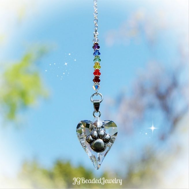 Rainbow Bridge Paw Heart Crystal Suncatcher
