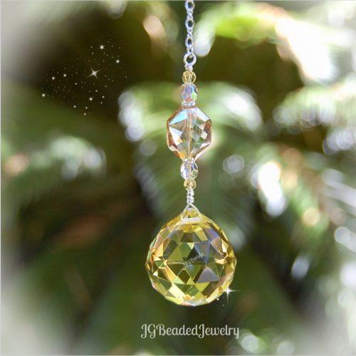 Gold Topaz Crystal Suncatcher