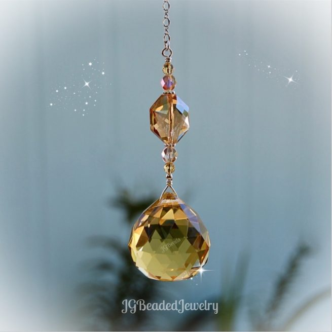 Gold Topaz Crystal Suncatcher