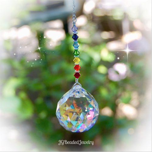 Rainbow Chakra Crystal Prism Suncatcher