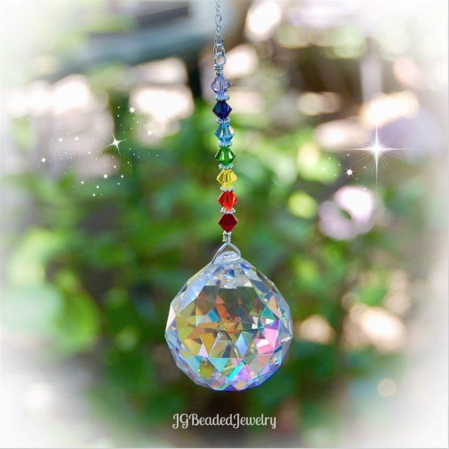 Rainbow Chakra Crystal Prism Suncatcher 1