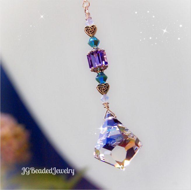 Celtic Heart Diamond Swarovski Crystal Suncatcher Prism