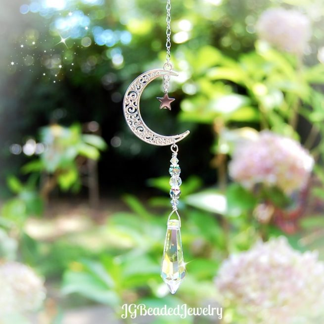 Crescent Moon and Star Crystal Suncatcher