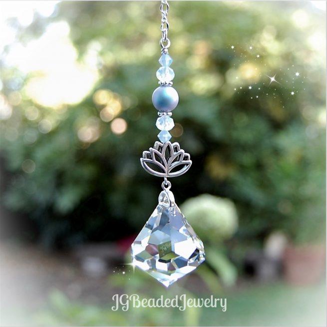 Lotus Blue Diamond Swarovski Crystal Suncatcher