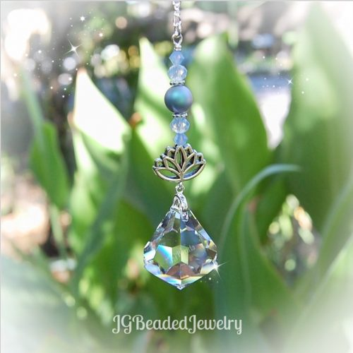 Lotus Blue Diamond Swarovski Crystal Suncatcher