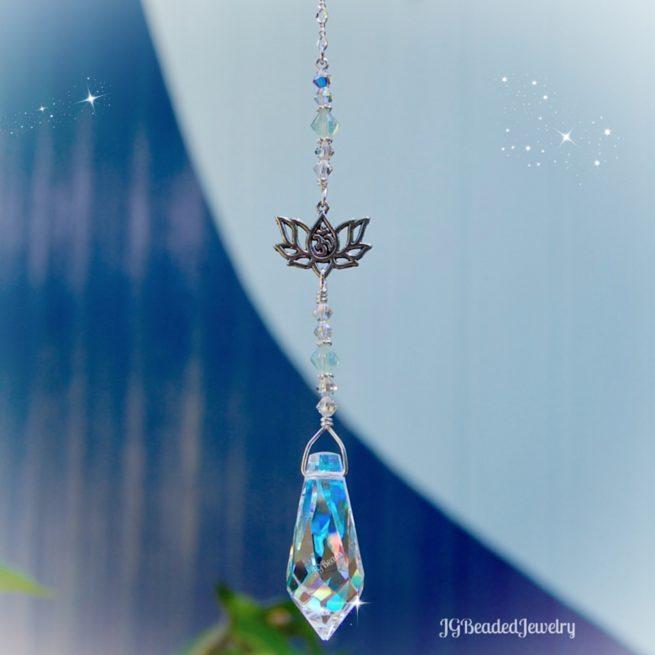 Lotus Om Swarovski Crystal Teardrop Suncatcher Opal Green