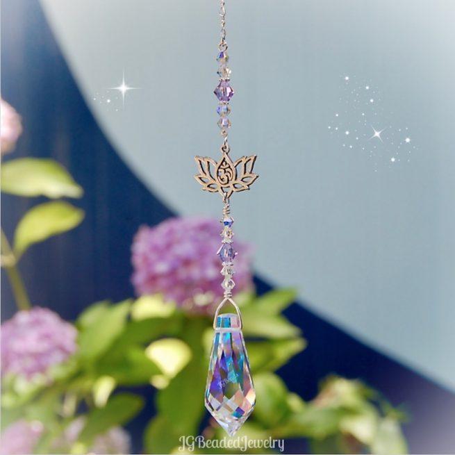 Lotus Om Swarovski Crystal Teardrop Suncatcher Violet