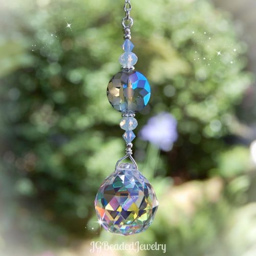 Opal Blue Flower Crystal Suncatcher