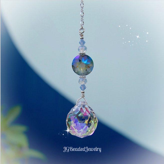 Opal Blue Flower Crystal Suncatcher