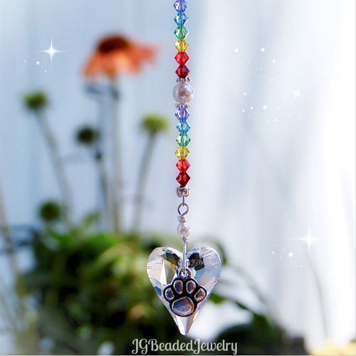Rainbow Bridge Paw Swarovski Crystal Suncatcher