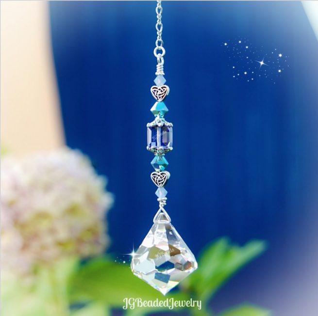 Celtic Heart Diamond Swarovski Crystal Suncatcher